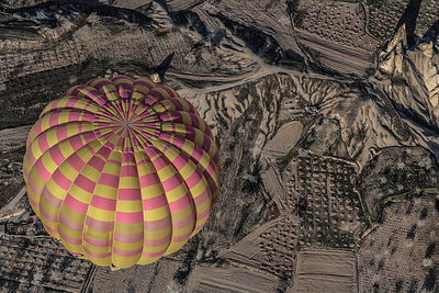 Aerial view of Cappadocia with hot air balloon, Turkey, March 2006.