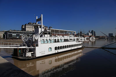 Puerto Madero docklands regeneration in Buenos Aires, Argentina, showing riverboat
