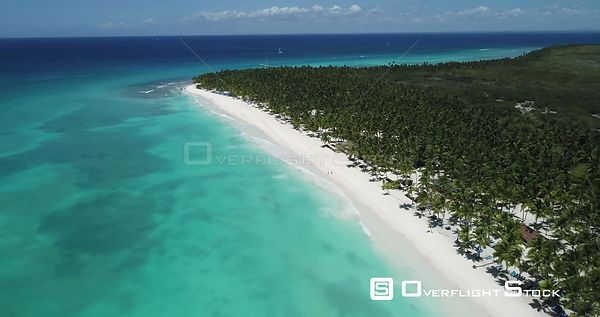 Caribbean beach and palm trees. High altitude flight backward going down, tilting up . Saona Island, Dominican Republic