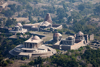 Ancient temple complex viewed from Kumbhalgarh Fort, Rajasthan, India