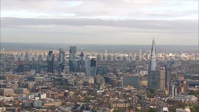 Aerial footage of The Shard and the City, London