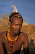 Hamer man with body scarring and clay hair bun, Turmi, South Omo valley, Ethiopia