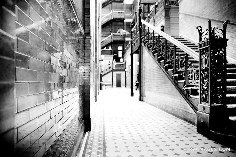 BRADBURY BUILDING HISTORIC LOS ANGELES CALIFRONIA ARCHITECTURE BLACK AND WHITE