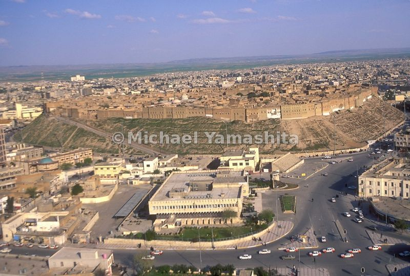 Citadel from top of Mircowave tower bombed during Gulf war. Center of city rises 102,000 meters abouve the rest of the town. ...