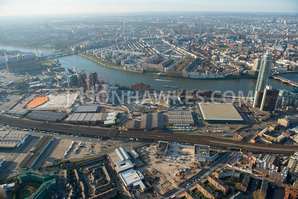 Aerial view of the Nine Elms regeneration site, London