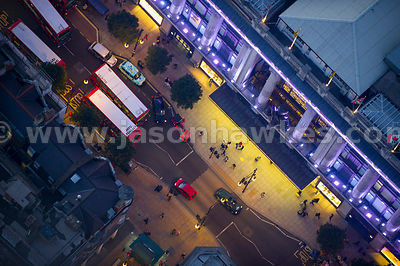 Aerial view of Selfridges at night, London