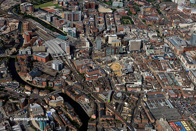 aerial photograph of Leeds City centre, Yorkshire England UK