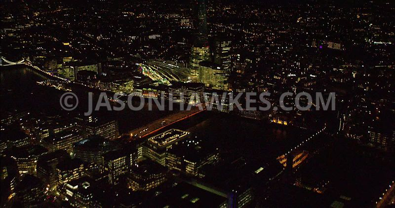 London night aerial footage, The Shard.