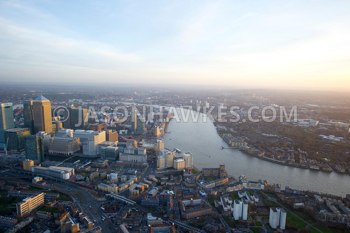 Aerial view over Canary Wharf, London