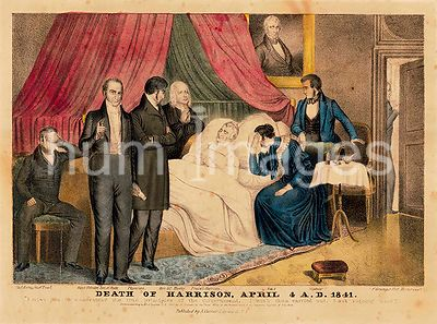 William Henry Harrison on his deathbed with Rev. Hawley, a physician, niece, and nephew in attendance