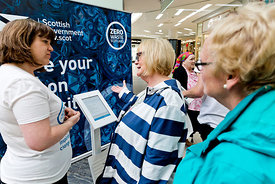 St Enoch Centre, Glasgow.22.8.18.Members of the public attending the deposit return scheme...More info from:.Harriet Brace | ...