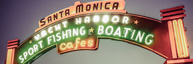 Santa Monica Pier Sign Vintage Panoramic Photo