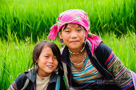 Young Black Hmong Woman and Girl in Lush Green Rice Paddy