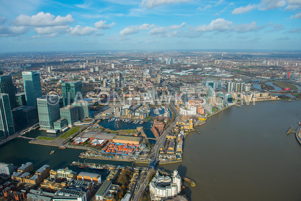 Aerial view of Blackwall and Canary Wharf, London