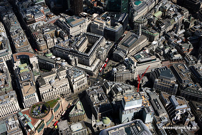 aerial photograph of Threadneedle Street  London England UK