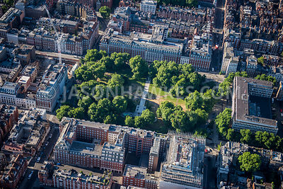 Aerial view of London, Grosvenor Square.