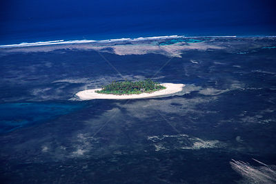 Coral atoll and lagoon (extinct volcanic crater), Alphonse from the air, Seychelles