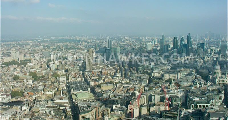 London Aerial Footage of Smithfield Market.