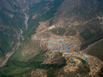 NEPAL Namche Bazaar -- 16 Apr 2005 -- Aerial view of Namche Bazaar - a town in the Everest region situated at 3,400m.