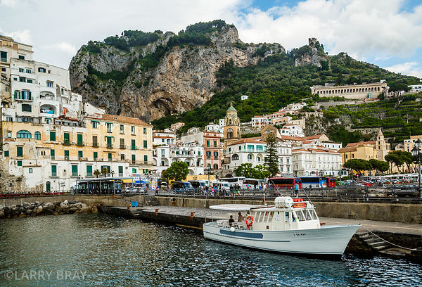 View of town of Amalfi from the harbour, Italy