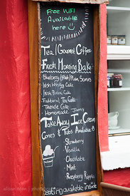 Menu at tea shop in the village of Cong, home of The Quiet Man, Ireland