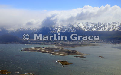 Ushuaia from the air, with the Martial mountain range behind, Tierra del Fuego, Argentina