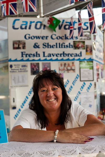 UK - Swansea - Jo Watts selling seafood and laverbread on the family stall in Swansea Market for generations
