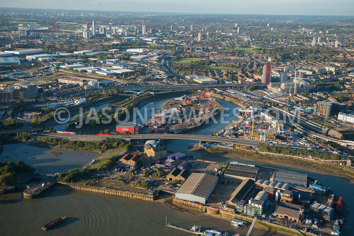 Aerial view of Leamouth Peninsula, London