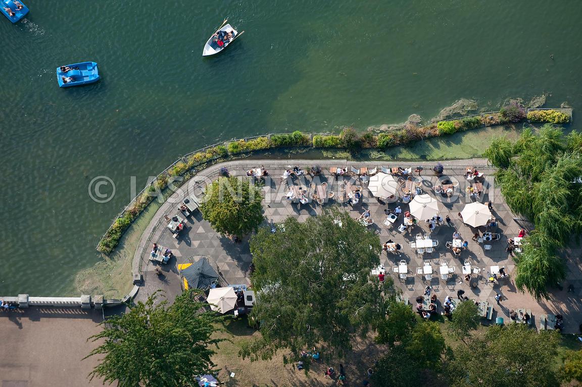 Aerial view of a lakeside cafe in Hyde Park