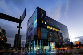 St Vincent Plaza building, 303 St Vincent Street, Glasgow..External Lighting 24.9.15.Free PR Use for Skylark PR and Abstract ...