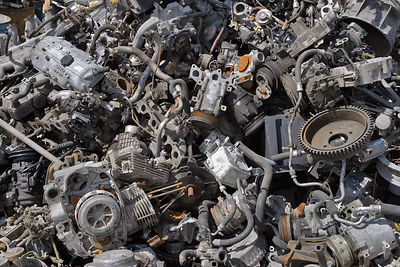 Close-up view of a pile of metal auto parts in a junkyard, Springfield, Oregon