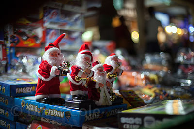Santa Claus toys for sale during Christmas season in Newmarket, Kolkata, India.