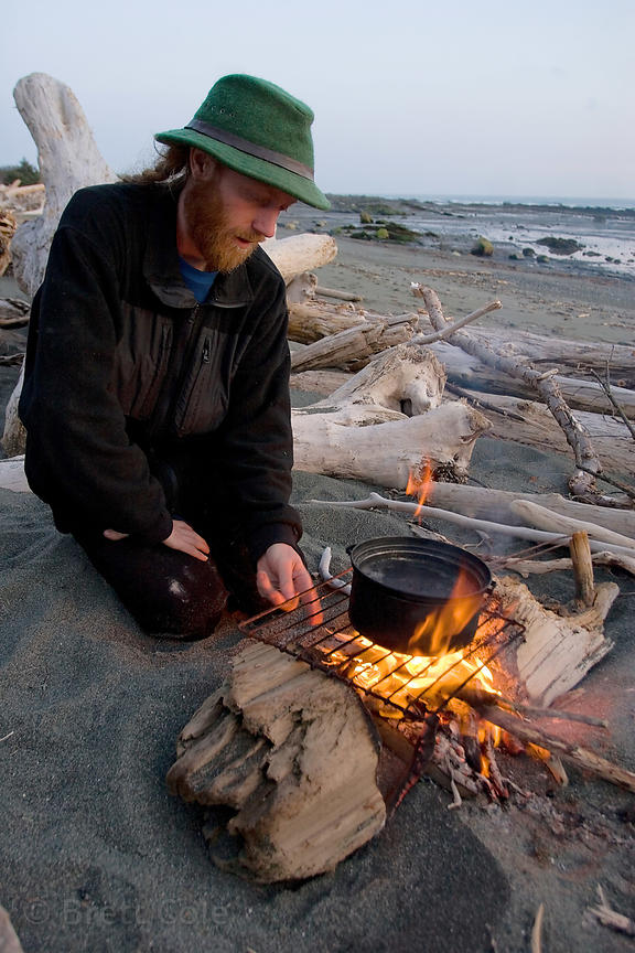 A forest activist at his camp, Chugach National Forest, Alaska