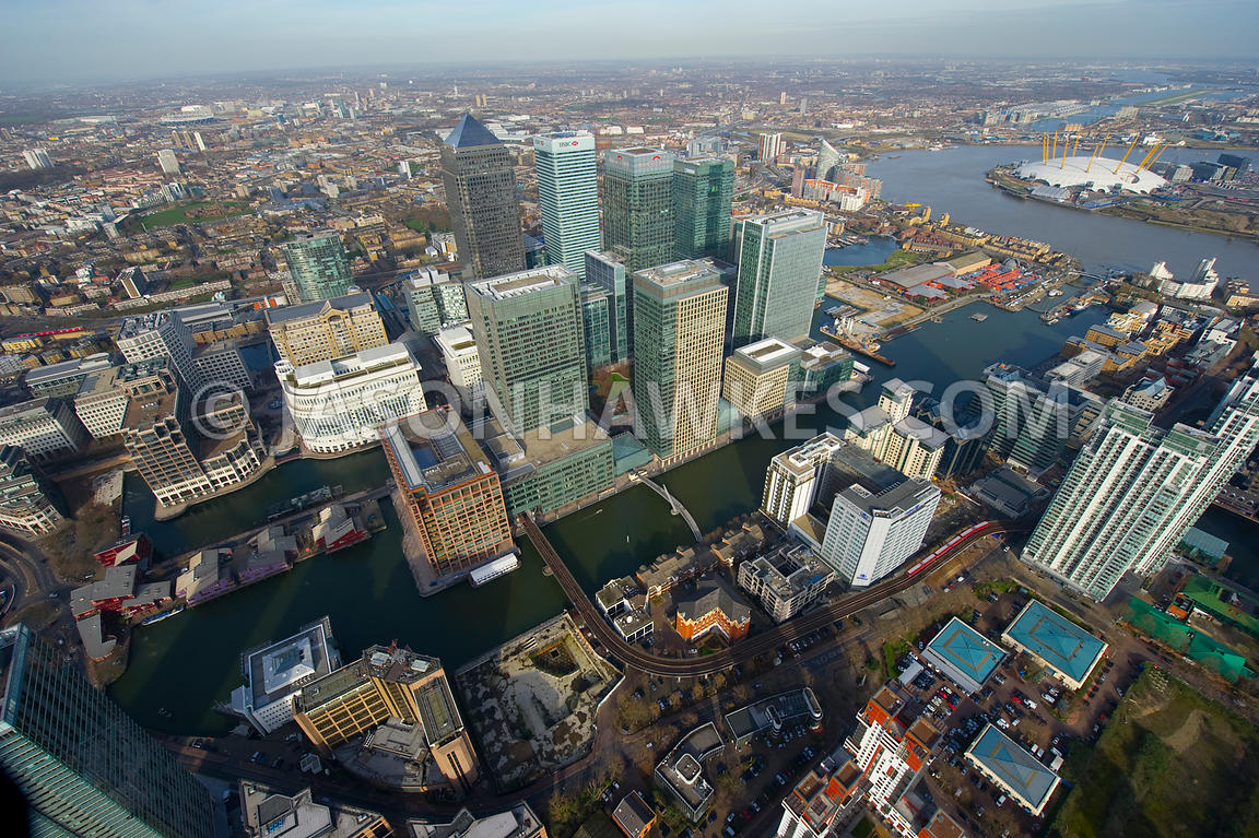 Aerial view of Canary Wharf Development, Isle of Dogs, London