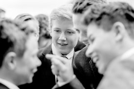 Young Nordic boys in suits talking 3 (black/white picture)
