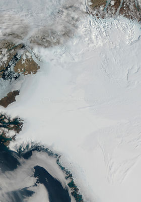 EARTH Greenland -- 16-17 Jul 2012 -- The Petermann Glacier (top left) on the northwestern coast of Greenland, terminating in ...