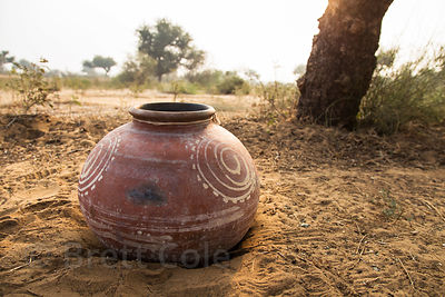 Clay pot in a remote area near Banwal village, Rajasthan, India