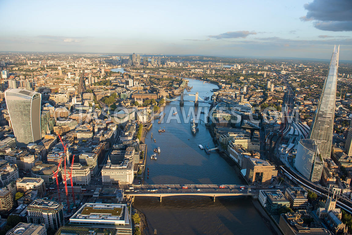 Aerial view of the River Thames looking East, London