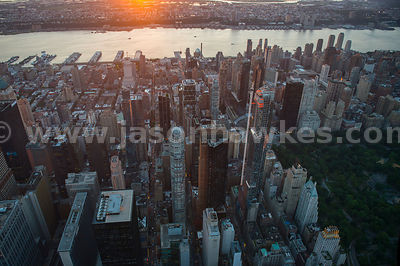 Looking west over Midtown Manhattan at sunset