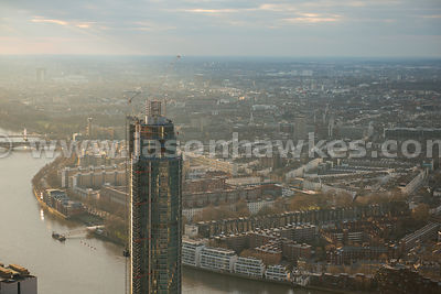 Aerial view of St George Wharf Tower looking towards Pimlico