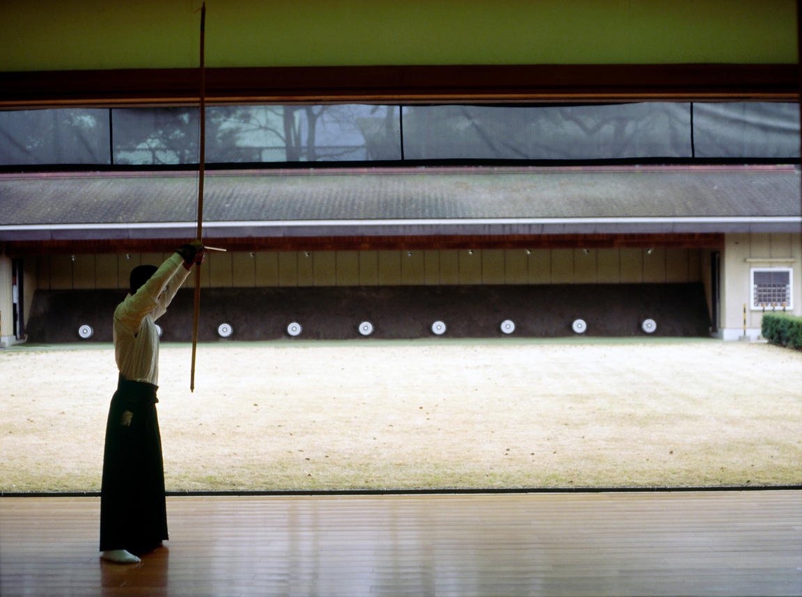 Japan - Kyoto - An archer in front of targets at the Kyoto dojo The Way of the Bow