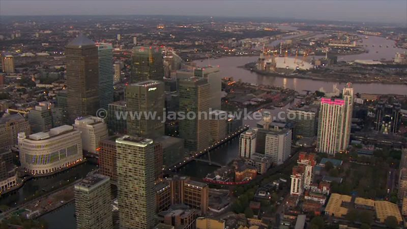 Aerial footage of Canary Wharf at dusk, London
