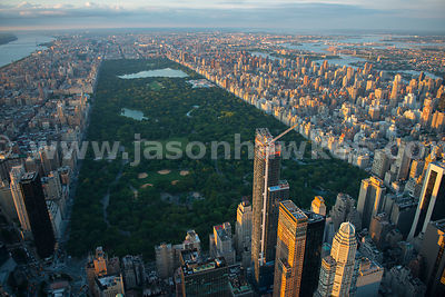Aerial view of Central Park with One57 in the foreground