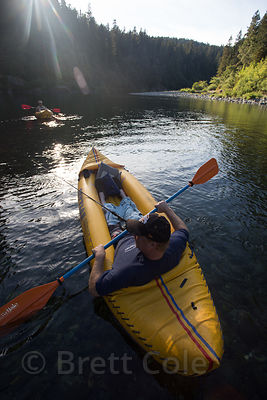 California, Kayaker on the Smith River near Jedidiah Smith Redwoods Park