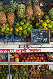 Fruit for sale at a market in Lalbaug, Mumbai, India.