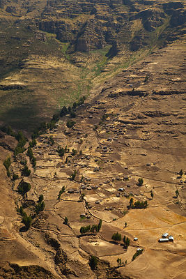 Aerial view of buildings and roads in the Chennek region. Simien Mountains, Ethiopia, Feb 2010