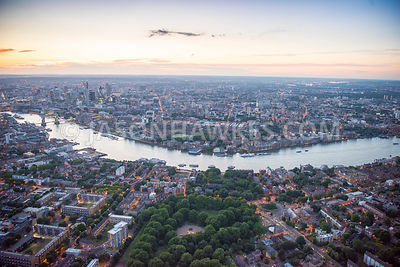 Aerial view of London, Southwark Park and Canada Water at night.