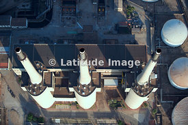 The Three Chimneys Of The Now Abandoned Besós Power Station, Barcelona