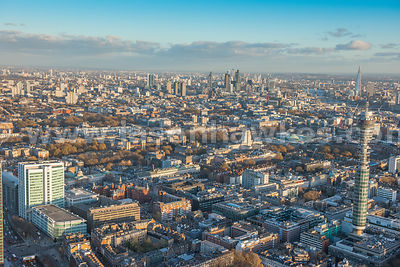 Aerial view of Bloomsbury  and University College London, with British Telecom Tower, London.