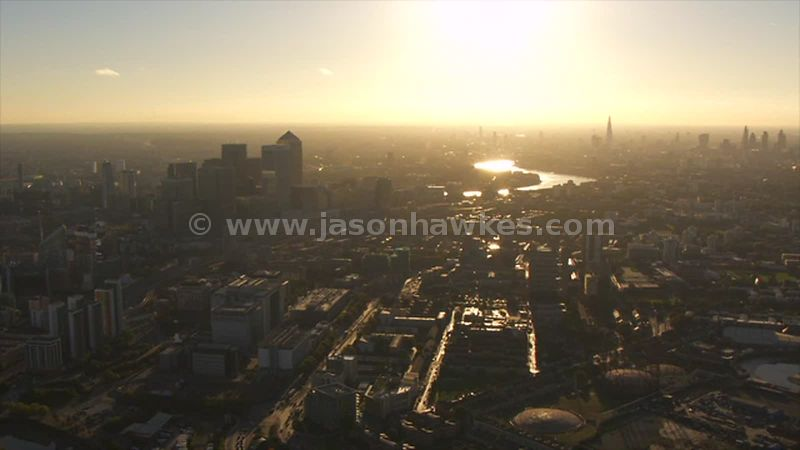 Aerial footage of Poplar at sunset, London